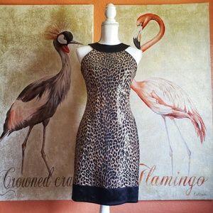 Cache Leopard Print Mini Dress, High Shine